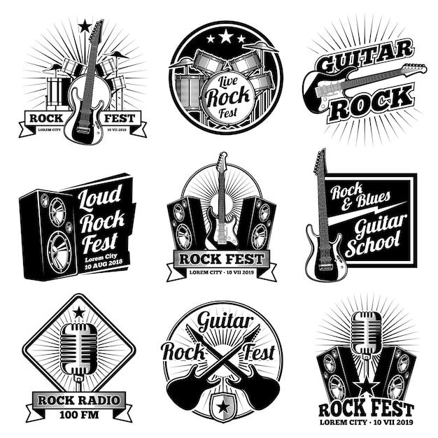 Etykiety muzyki rock and roll. zestaw starych emblematów z metalu ciężkiego Premium Wektorów