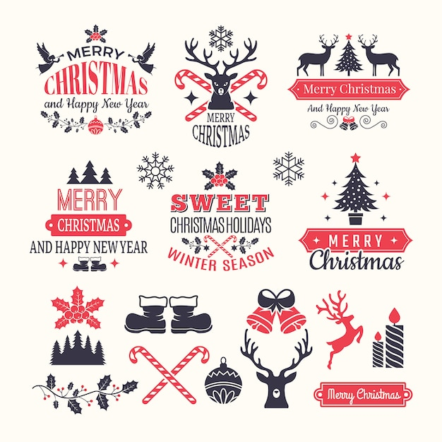 Etykiety na święta bożego narodzenia. vintage zimowe odznaki i logo z różnymi elementami nowego roku śniegu i miejscem na tekst Premium Wektorów