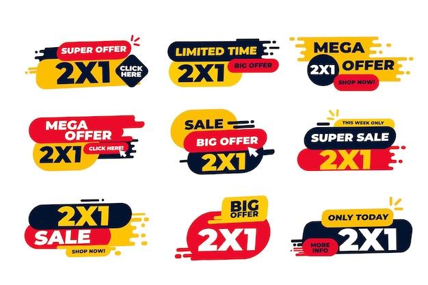 Etykiety Promocyjne 2x1 Premium Wektorów