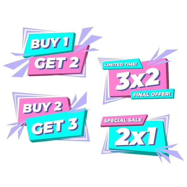 Etykiety Promocyjne 2x1 Darmowych Wektorów