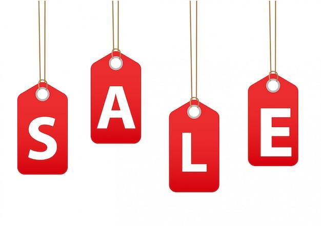 Etykiety Sprzedażowe. Czerwone Etykietki Rabaty, Ilustracja Premium Wektorów
