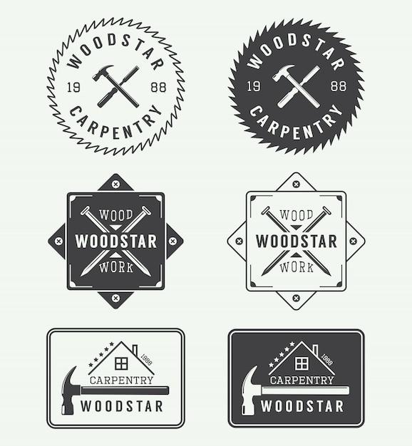 Etykiety stolarskie, emblematy Premium Wektorów