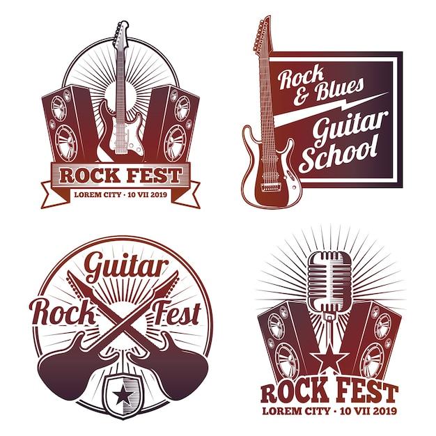 Etykiety Wektorowe Muzyki Rock And Roll. Vintage Emblematy Heavy Metal Na Białym Tle Premium Wektorów