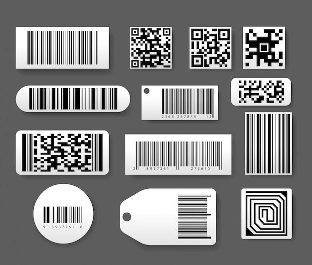 Etykiety Z Kodem Kreskowym W Realistycznym Stylu Premium Wektorów