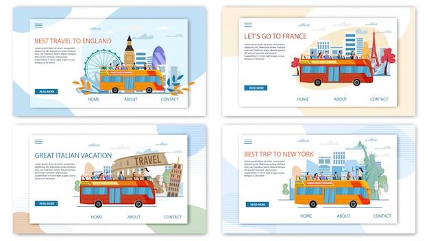 Europa I Usa Travel Tour Płaskie Wektor Banery Internetowe Premium Wektorów