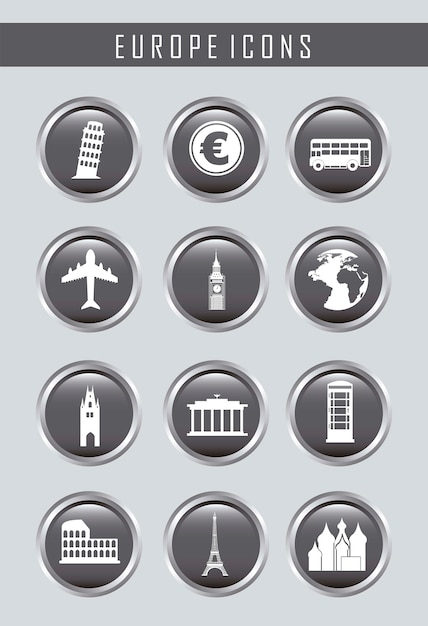 Europa ikony na szarym tle ilustracji wektorowych Premium Wektorów