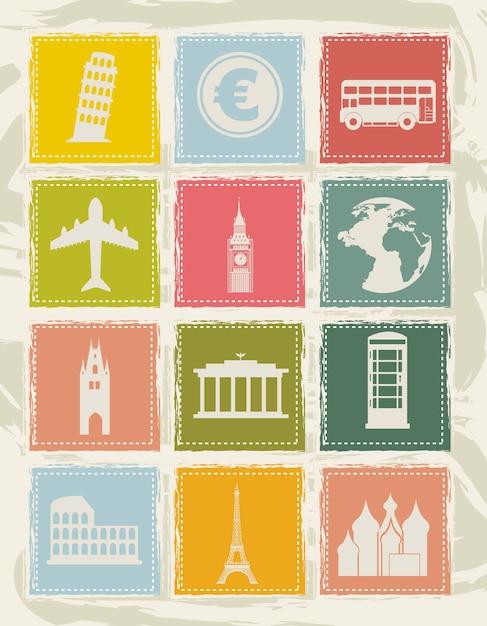 Europa ikony na tło wektor ilustracja Premium Wektorów