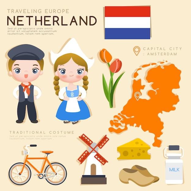 Europejska Infografika Z Tradycyjnymi Kostiumami I Atrakcjami Turystycznymi. Premium Wektorów