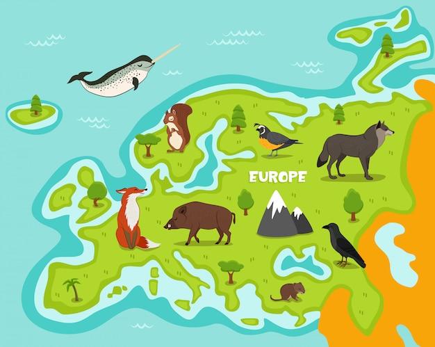 Europejska Mapa Z Dzikimi Zwierzętami Premium Wektorów