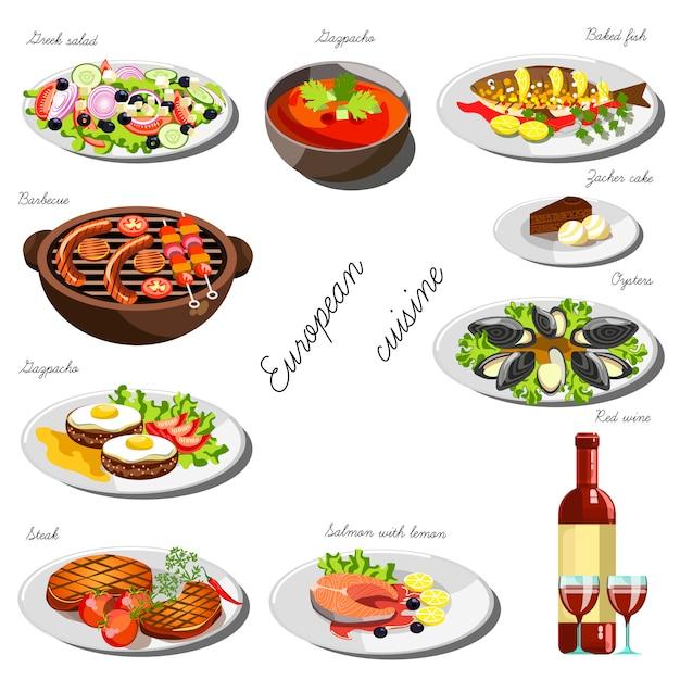 Europejski zestaw kuzynów. kolekcja potraw spożywczych Premium Wektorów