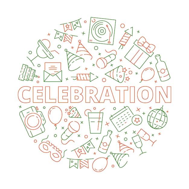 Event Urodziny Uroczystości Symbole W Kształcie Koła Fajerwerki Balony Ciasta Gwiazdy Szablon Wektor Premium Wektorów