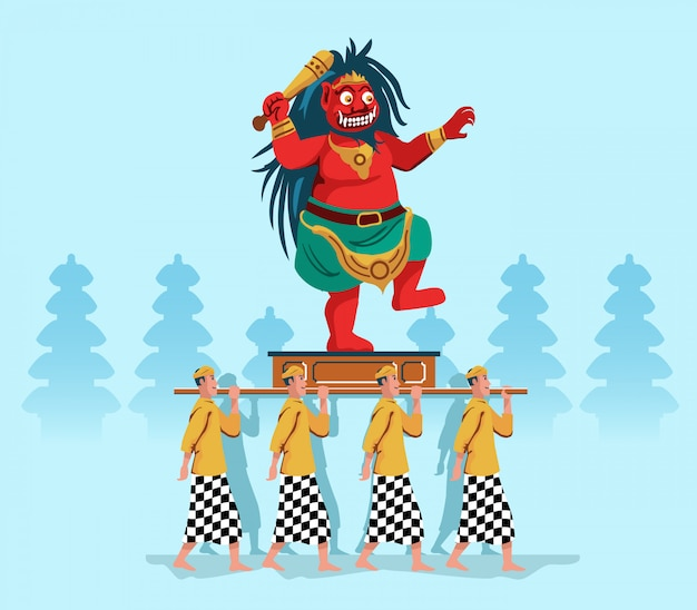 Evil Spirit Statue Parade By Hindu Bali People Premium Wektorów