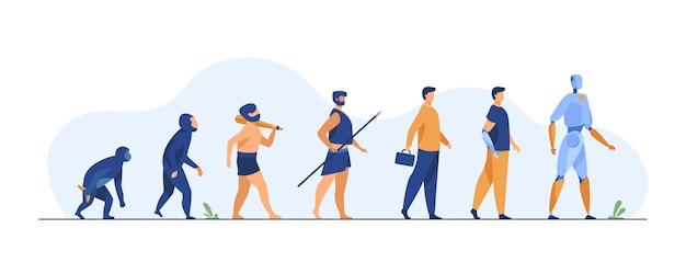 Ewolucja Człowieka Od Małpy Do Cyborga Darmowych Wektorów