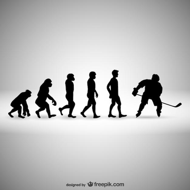 Ewolucja Hokej Ludzkość Premium Wektorów