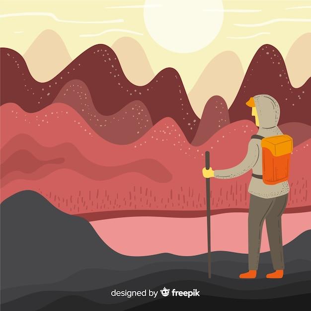 Explorer Z Tłem Plecaka Darmowych Wektorów