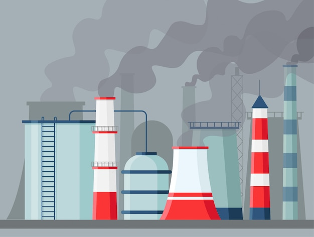 Fabryczne Zanieczyszczenie Powietrza. Zanieczyszczenie środowiska Emisja Dwutlenku Węgla. Toksyczne Fabryki I Zakłady Z Oparami Lub Smogiem. Zanieczyszczające Kominy Premium Wektorów