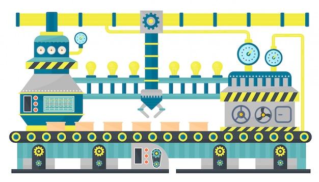 Fabryczny Przenośnik Taśmowy Do Pakowania Przemysłowego Premium Wektorów