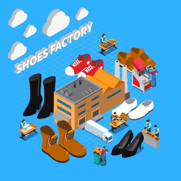 Fabryka Obuwia Izometryczny Ilustracja Symbolami Butów I Butów Darmowych Wektorów