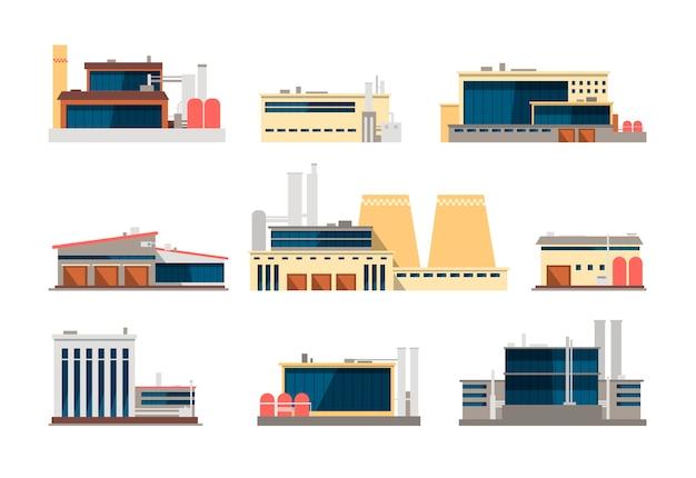 Fabryka Przemysłowa, Elektrownia I Budynki Magazynowe. Przemysłowe Ikony Płaskie Wektor Premium Wektorów