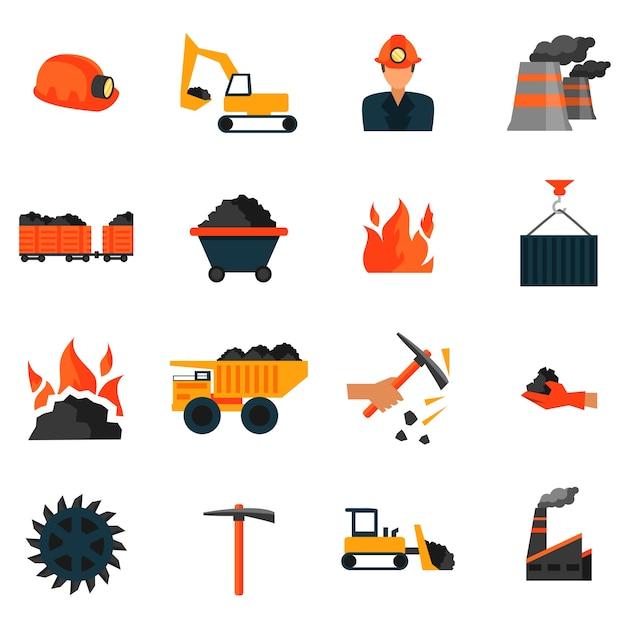 Fabryka przemysłu wydobywającego węgiel ikon zestaw izolowanych ilustracji wektorowych Darmowych Wektorów