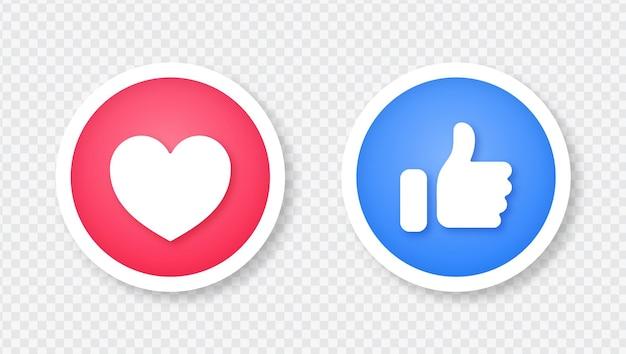 Facebook Jak I Ikona Miłości W 3d Ilustracja Naklejki Okrągły Przycisk Na Białym Tle Premium Wektorów