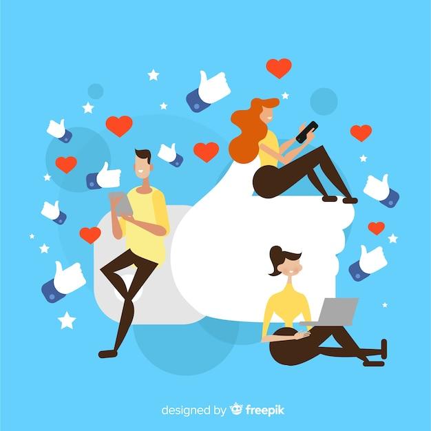 Facebook Jak. Nastolatki W Mediach Społecznościowych. Projektowanie Postaci. Darmowych Wektorów