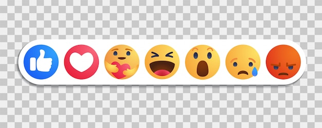 Facebook Jak Okrągły żółty Przycisk Z Kreskówek Reakcje Empatycznych Emotikonów Z Nową Reakcją Pielęgnacyjną Premium Wektorów