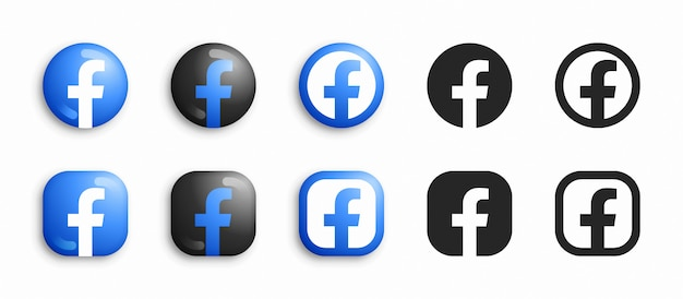Facebook Nowoczesne 3d I Płaskie Zestaw Ikon Premium Wektorów