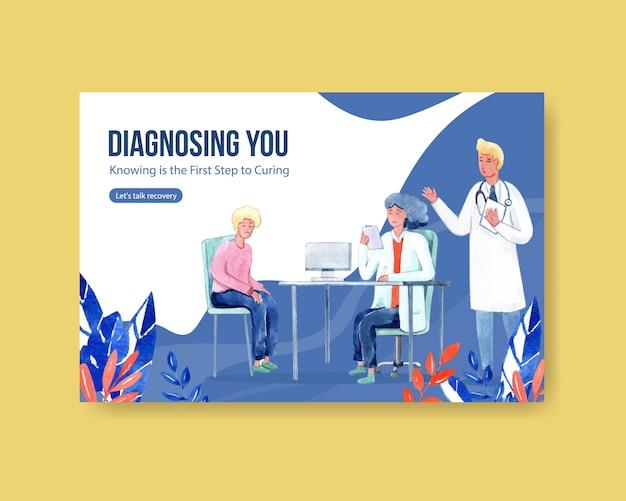Facebook Szablonu Choroby Pojęcia Projekt Z Ludźmi I Doktorskich Charakterów Akwareli Infographic Symptomatyczną Akwareli Ilustracją Darmowych Wektorów