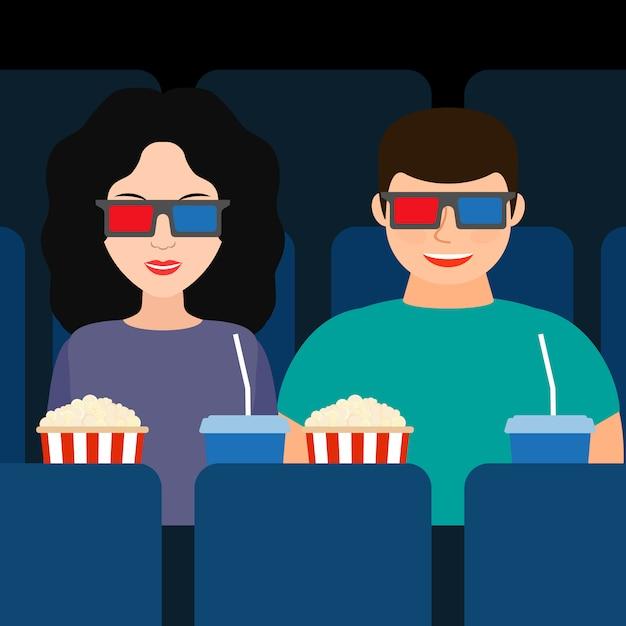 Facet i dziewczyna w kinie w okularach 3d z popcornem i napojami Premium Wektorów
