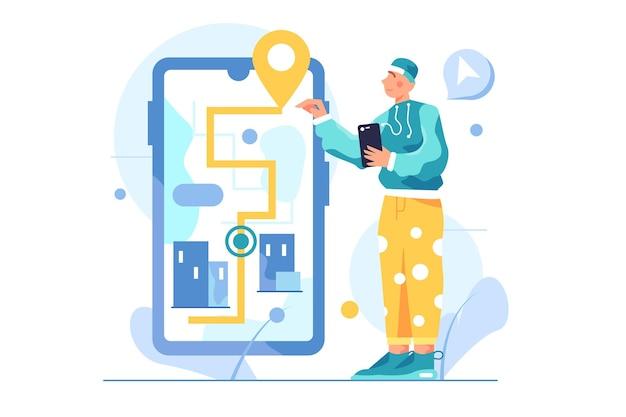 Facet Porusza Się Poruszając Się Po Dużym Wirtualnym Telefonie, ścieżce I Pinezce, Odizolowany Telefon W Ręku Premium Wektorów