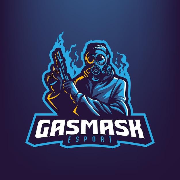 Facet Z Maską Gazową, Trzymając Pistolet Maskotka Ilustracja Dla Sportu I E-sportu Logo Na Białym Tle Na Ciemnym Niebieskim Tle Premium Wektorów