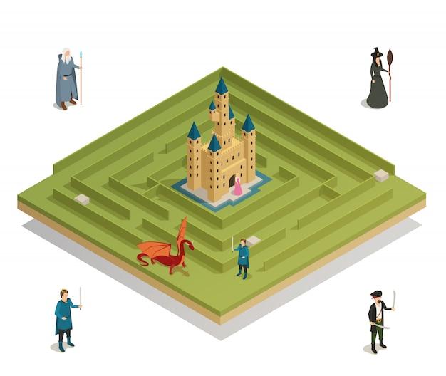 Fairy tale game isometric Darmowych Wektorów