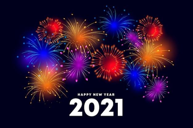 Fajerwerki Nowy Rok 2021 | Premium Wektor