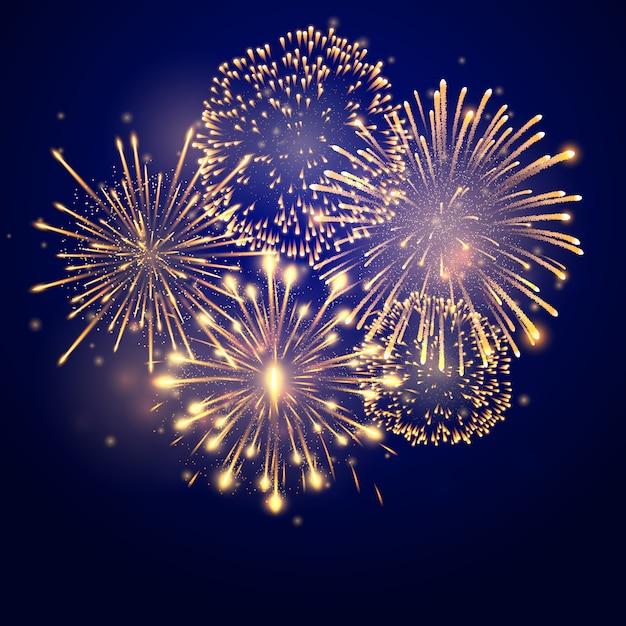 Fajerwerki pękają w różnych kształtach. eksplozja fajerwerków w nocy. rakiety z petardami pękają w wielkich iskrzących się gwiazdowych kulach Premium Wektorów