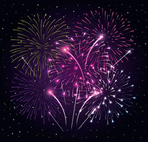 Fajerwerku Wybuch Na Nocy Ciemnym Niebie, Nowego Roku świętowania Wektorowy Ilustracyjny Projekt Premium Wektorów