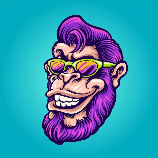 Fajna Głowa Małpy Premium Wektorów