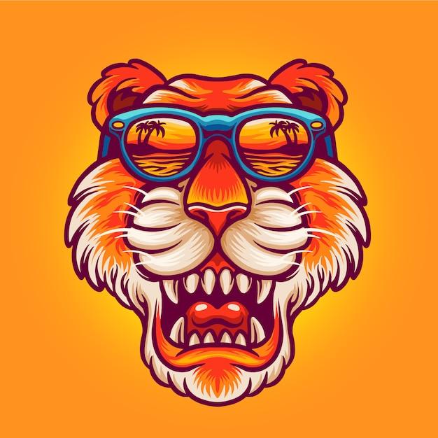 Fajna Głowa Tygrysa Premium Wektorów
