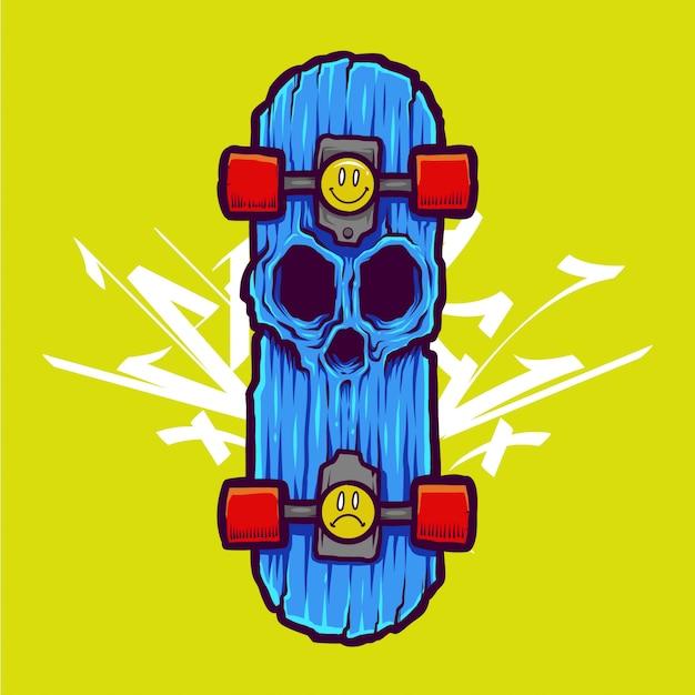 Fajna Ilustracja Czaszki Zombie I Projekt Koszulki Premium Wektorów