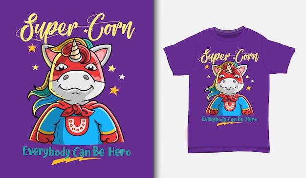 Fajne Ilustracja Jednorożca Super Hero Z T-shirt, Ręcznie Rysowane Premium Wektorów
