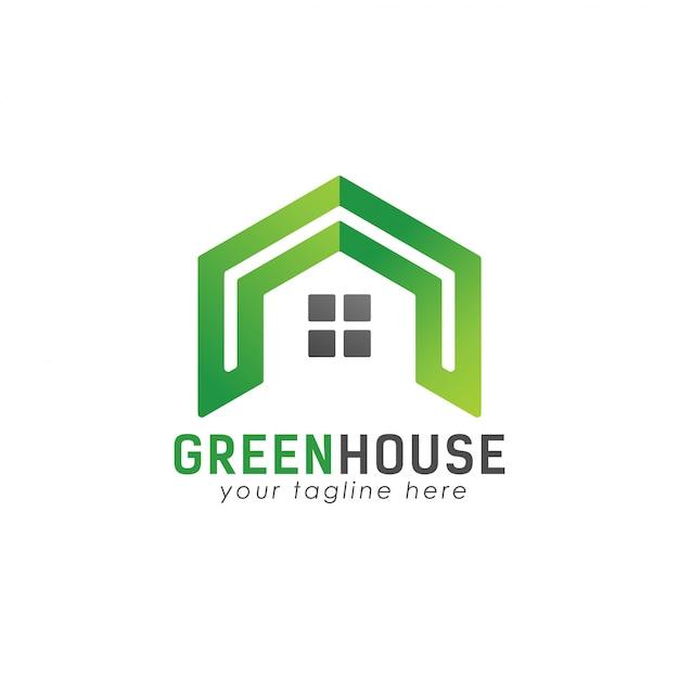 Fajne zielone logo domu Premium Wektorów