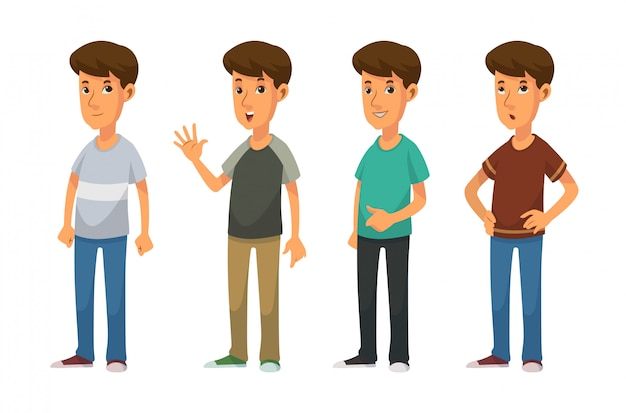 Fajni Chłopcy Za Pomocą Ilustracji Wektorowych W Stylu Casual Premium Wektorów
