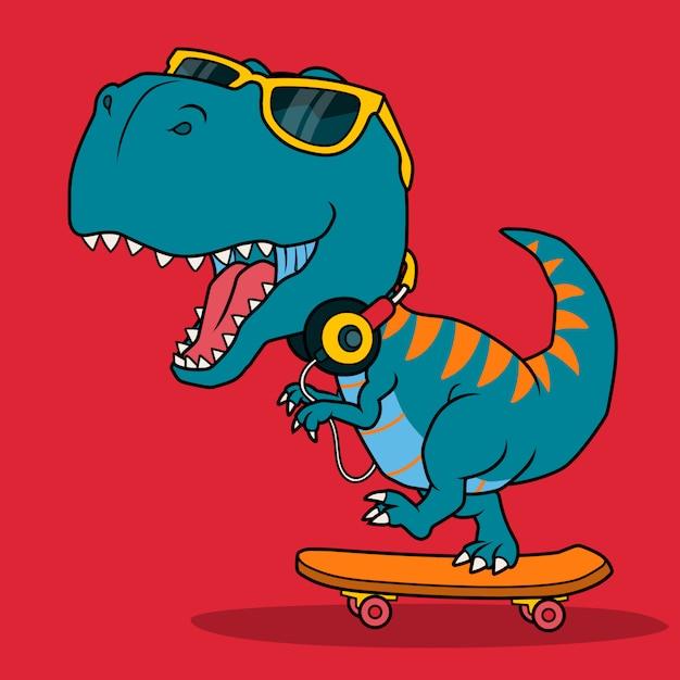 Fajny Dinozaur Grający Na Deskorolce. Premium Wektorów