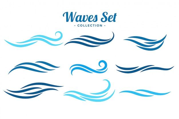 Fala Streszczenie Logo Koncepcja Zestaw Dziewięciu Darmowych Wektorów