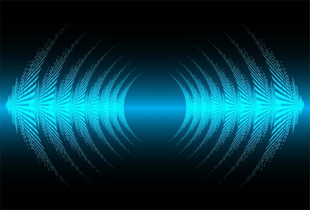 Fale dźwiękowe oscylują w ciemnoniebieskim świetle Premium Wektorów