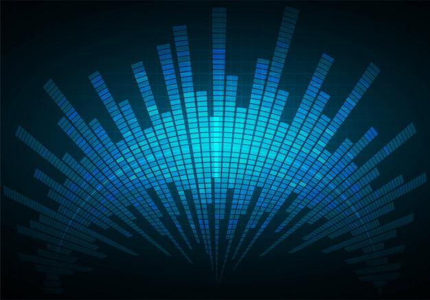 Fale dźwiękowe oscylujące na ciemnoniebieskim tle światła Premium Wektorów