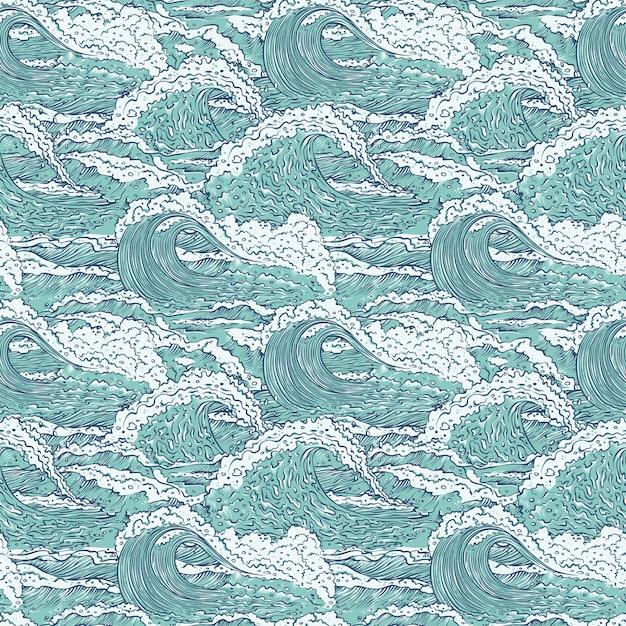 Fale Morze Ocean Wzór. Duże I Małe Lazurowe Wybuchy Rozpryskują Się Pianą I Bąbelkami. Zarys Szkicu Tła Ilustracji. Premium Wektorów