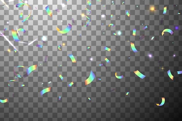 Falling Shiny Glitter Rainbow Konfetti Z Blaskiem Słońca Na Białym Tle. Opalizujący Tło. Siatkowa Holograficzna Folia Tło. Holograficzne Tło Z Efektem Light Glitch. Premium Wektorów