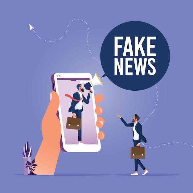 Fałszywe Wiadomości Lub Wprowadzające W Błąd Informacje, Które Ludzie Udostępniają W Mediach Społecznościowych I Internecie Premium Wektorów