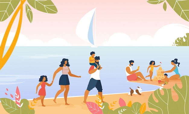 Family resort nad morzem z happy parents, kids Premium Wektorów